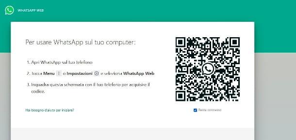 La página de inicio de WhatsApp Web