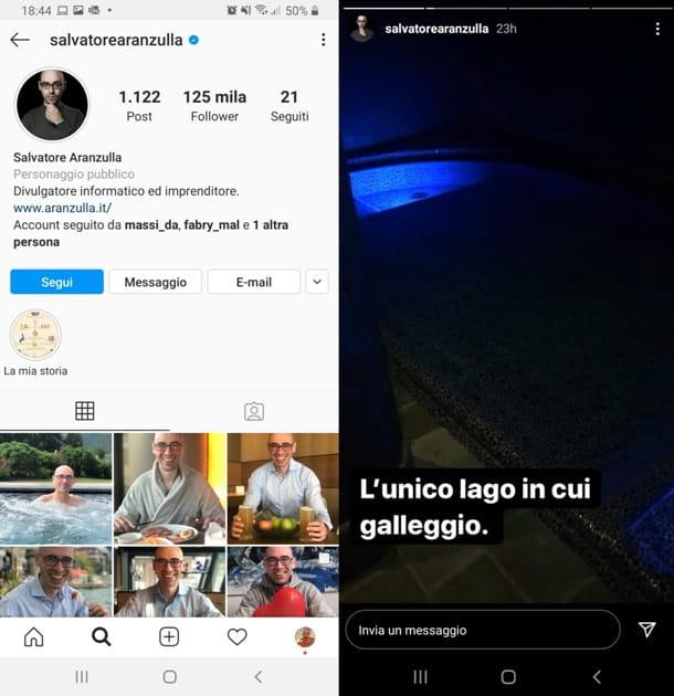 Perfil de Instagram con las historias de Aranzulla