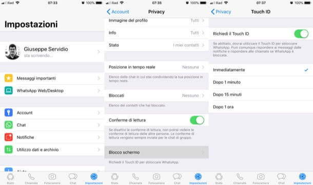 Touch ID activo en WhatsApp