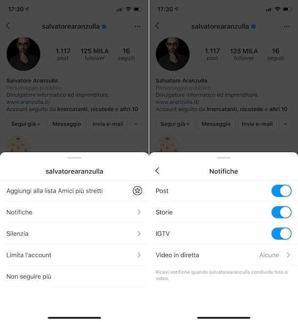 Notificaciones específicas de Instagram